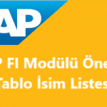 SAP FI Önemli Database Tabloları