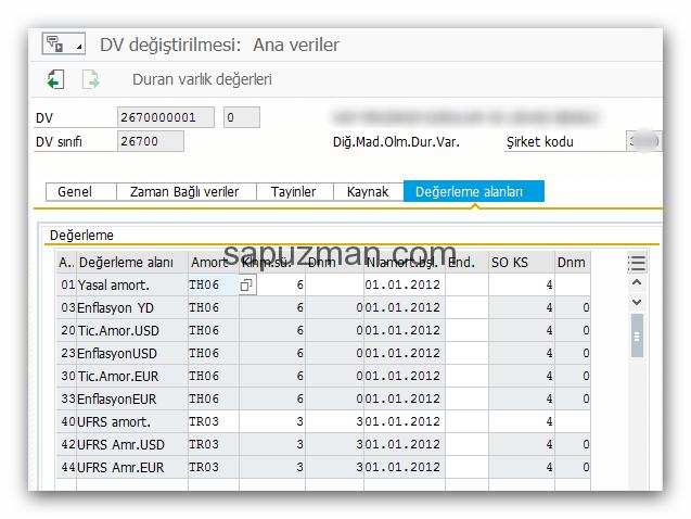 as01 - sap duran varlık kartı değerleme alanları