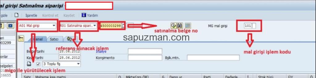 SAP Satınalma Siparişi Mal Girişi - MIGO İşlem Kodu Malzeme