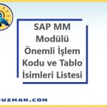 SAP MM(Malzeme Yönetimi) Modülü Önemli İşlem Kodları ve Tabloları